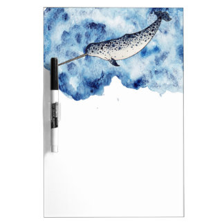 Narwhal in  a splash of watercolour dry erase white board