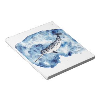 Narwhal in  a splash of watercolour notepad