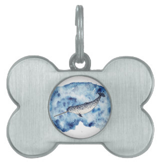 Narwhal in  a splash of watercolour pet tag