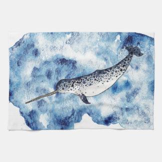 Narwhal in  a splash of watercolour tea towel