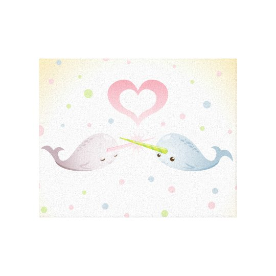 Narwhal Kisses Canvas Print