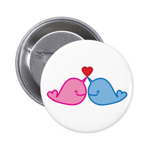 narwhal love 6 cm round badge