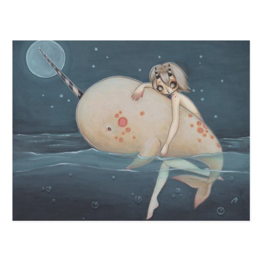 Narwhal lowbrow gothic art postcard