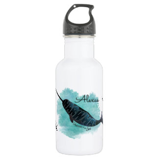 Narwhal on Watercolor Ocean Heart, Personalized 532 Ml Water Bottle