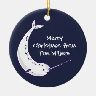 Narwhal Personalised Photo Christmas Ornament