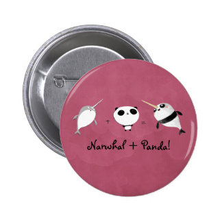 Narwhal plus Panda! 6 Cm Round Badge