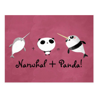 Narwhal plus Panda! Postcard