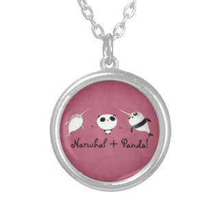 Narwhal plus Panda! Silver Plated Necklace