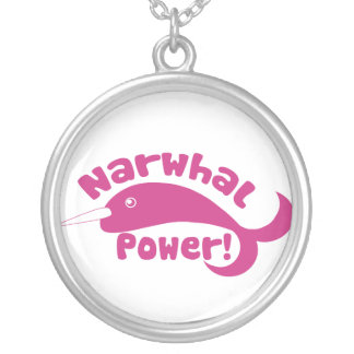 Narwhal Power Round Pendant Necklace