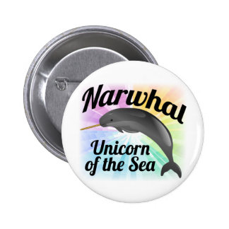 Narwhal Unicorn of the Sea, Cute Rainbow 6 Cm Round Badge