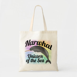 Narwhal Unicorn of the Sea, Cute Rainbow Budget Tote Bag