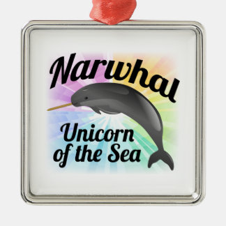 Narwhal Unicorn of the Sea, Cute Rainbow Christmas Ornament