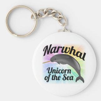 Narwhal Unicorn of the Sea, Cute Rainbow Key Ring
