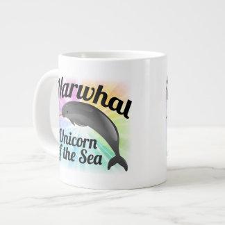 Narwhal Unicorn of the Sea, Cute Rainbow Large Coffee Mug