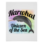 Narwhal Unicorn of the Sea, Cute Rainbow Poster