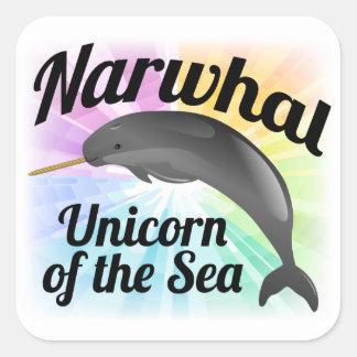 Narwhal Unicorn of the Sea, Cute Rainbow Square Sticker