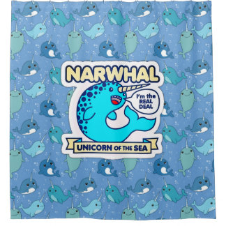 Narwhal Unicorn Of The Sea Shower Curtain