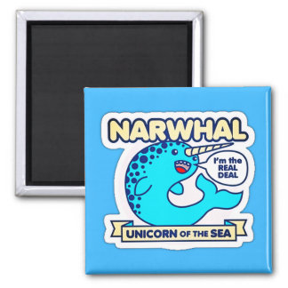 Narwhal Unicorn Of The Sea Square Magnet