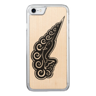 Narwhal Waves Celtic Style Black Ink Drawing Carved iPhone 7 Case