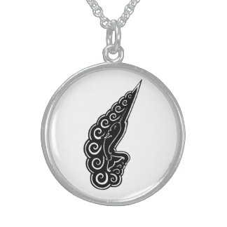 Narwhal Waves Celtic Style Black Ink Drawing Round Pendant Necklace