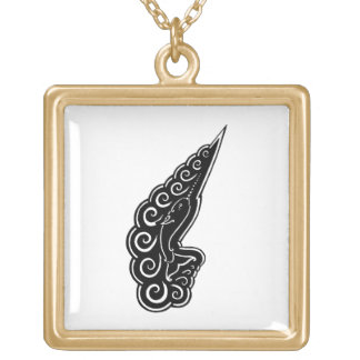 Narwhal Waves Celtic Style Black Ink Drawing Square Pendant Necklace