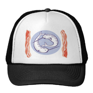narwhal whale and bacon trucker hats
