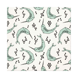 Narwhal - Whale Champagne Blue / Andrea Lauren Gallery Wrapped Canvas