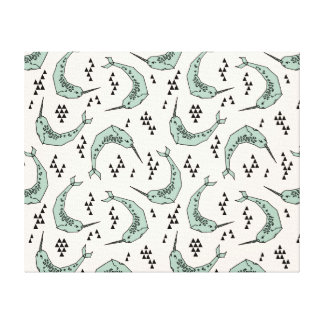 Narwhal - Whale Champagne Blue / Andrea Lauren Stretched Canvas Print