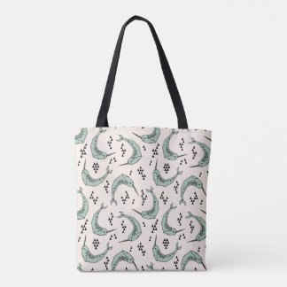 Narwhal - Whale Champagne Blue / Andrea Lauren Tote Bag
