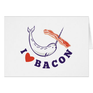 narwhal whale i love bacon card