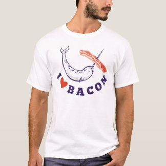 narwhal whale i love bacon T-Shirt