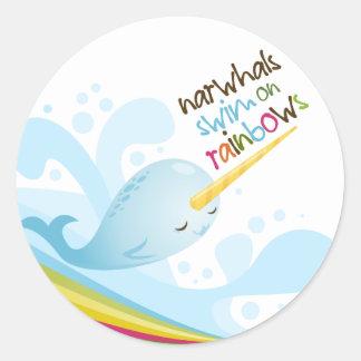 Narwhals Swim on Rainbows Classic Round Sticker