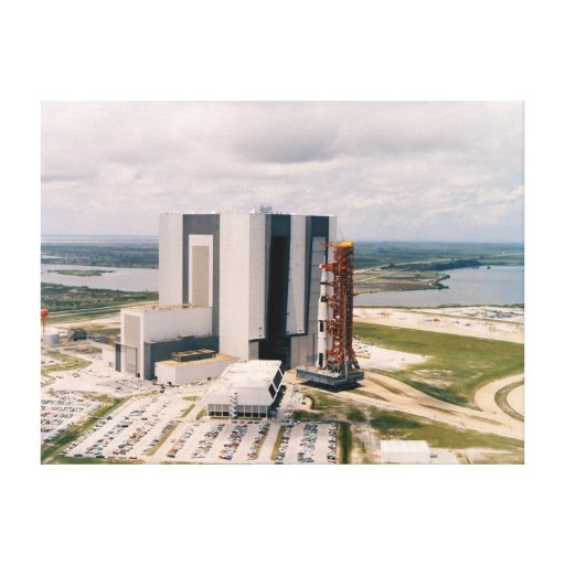 NASA Aerial view Apollp 11 Saturn V rollout Stretched Canvas Print