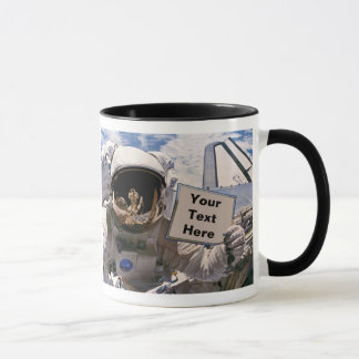 NASA Astronaut Holding Sign - Add Custom Text Mug