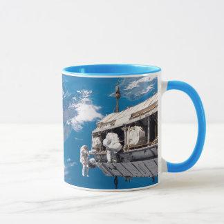 NASA Astronauts in Orbit Space Ship Mug
