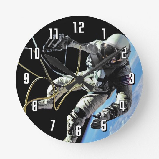NASA First American Astronaut Spacewalk Photo Round Clock