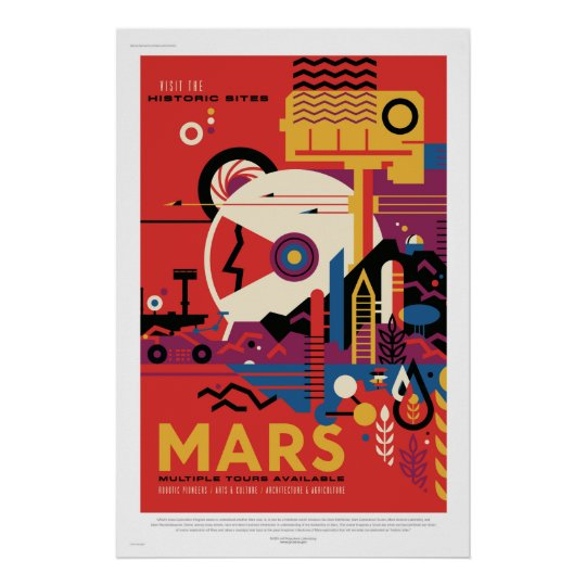 NASA Future Travel Poster Visit Mars Space Vintage