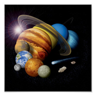 NASA JPL Solar System Planets Montage Space Photos Poster