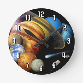 NASA JPL Solar System Planets Montage Space Photos Round Clock