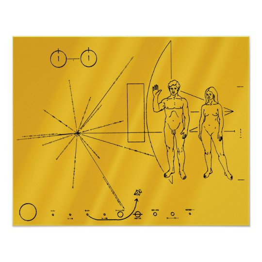 NASA Pioneer 10 Space Probe Gold Plaque Poster