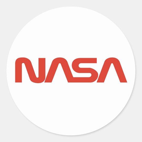 NASA Red Worm Logo Classic Round Sticker