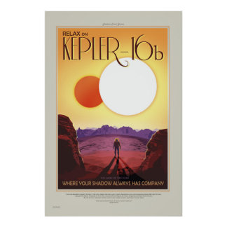 NASA Retro ExoPlanet Tour Kepler-16b Travel Poster