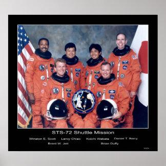 NASA Shuttle STS-72 Mission Crew Portrait Poster
