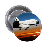 NASA SPACE SHUTTLE FLYING INTO COCOA BEACH 6 CM ROUND BADGE