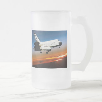 NASA SPACE SHUTTLE FLYING INTO COCOA BEACH FROSTED GLASS BEER MUG