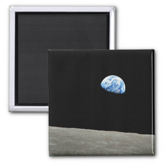NASA - View from Apollo8, Dec24, Earthrise Square Magnet