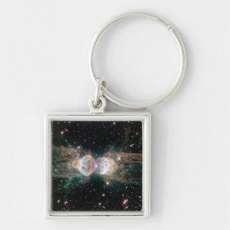 NASAs Ant Nebula Silver-Colored Square Key Ring