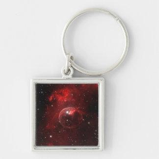 NASAs Bubble nebula Silver-Colored Square Key Ring