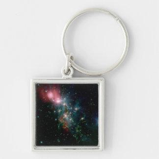 NASAs Chaotic Star Birth Silver-Colored Square Key Ring