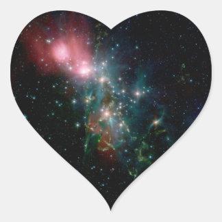 NASAs Chaotic Star Birth Heart Sticker